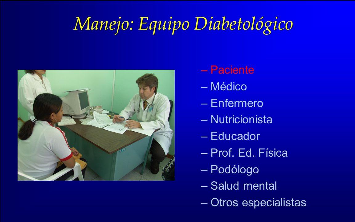 Manejo: Equipo Diabetológico –Paciente –Médico –Enfermero –Nutricionista –Educador –Prof. Ed. Física –Podólogo –Salud mental –Otros especialistas