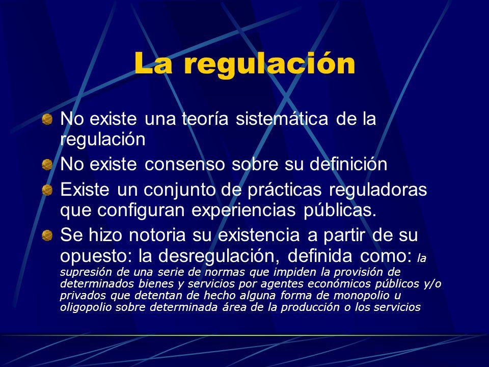 La regulación No existe una teoría sistemática de la regulación No existe consenso sobre su definición Existe un conjunto de prácticas reguladoras que configuran experiencias públicas.