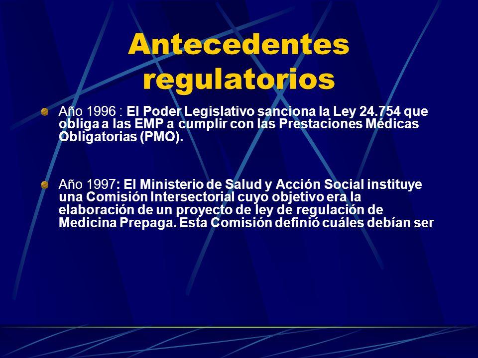 Antecedentes regulatorios Año 1986 : Se crea en el ámbito de la Secretaría de Comercio una comisión mixta con representantes del sector, y se firma el