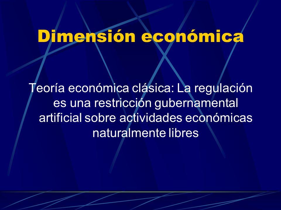 Dimensión económica Teoría económica clásica: La regulación es una restricción gubernamental artificial sobre actividades económicas naturalmente libres