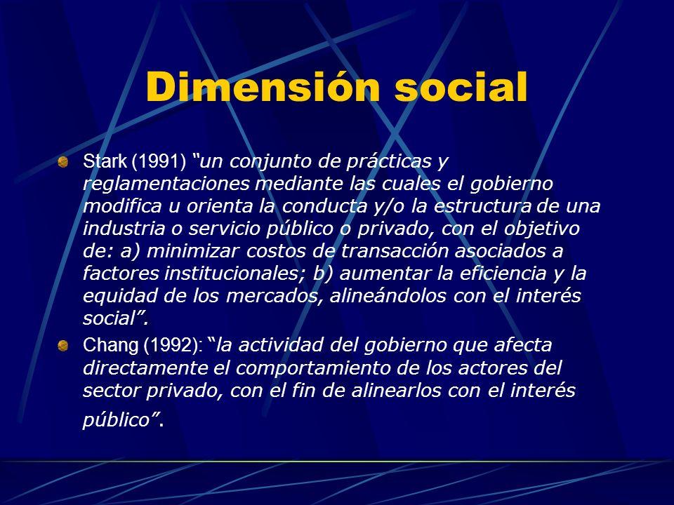 Dimensión social La eficiencia económica es un tema de segundo plano. Se priorizan los objetivos de tipo social. Selznick (década del 50): El control