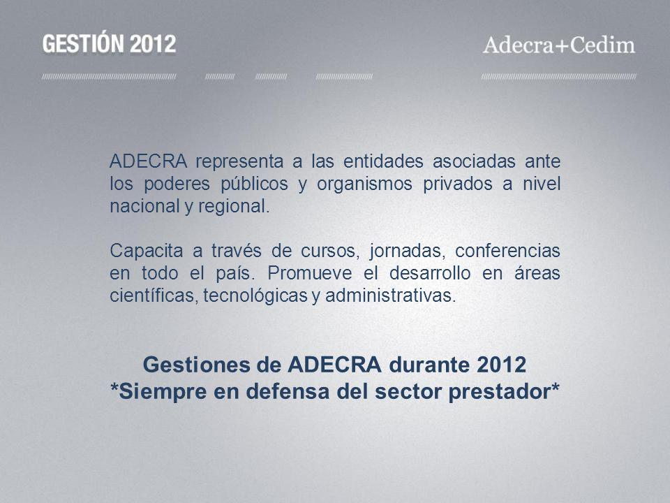 ADECRA representa a las entidades asociadas ante los poderes públicos y organismos privados a nivel nacional y regional. Capacita a través de cursos,