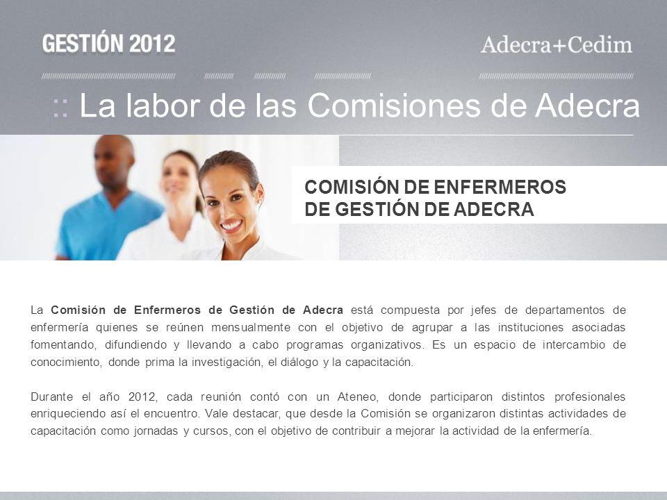 :: La labor de las Comisiones de Adecra La Comisión de Enfermeros de Gestión de Adecra está compuesta por jefes de departamentos de enfermería quienes