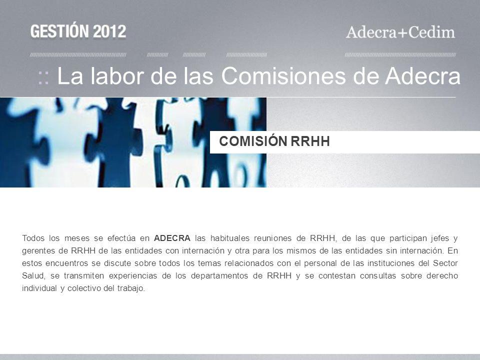 Todos los meses se efectúa en ADECRA las habituales reuniones de RRHH, de las que participan jefes y gerentes de RRHH de las entidades con internación