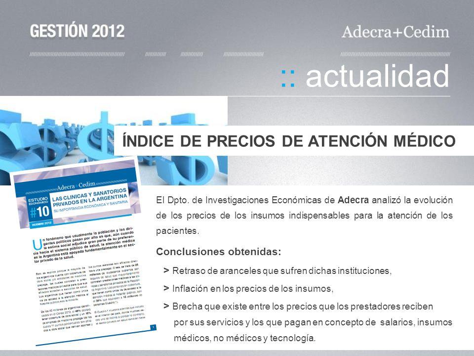 El Dpto. de Investigaciones Económicas de Adecra analizó la evolución de los precios de los insumos indispensables para la atención de los pacientes.