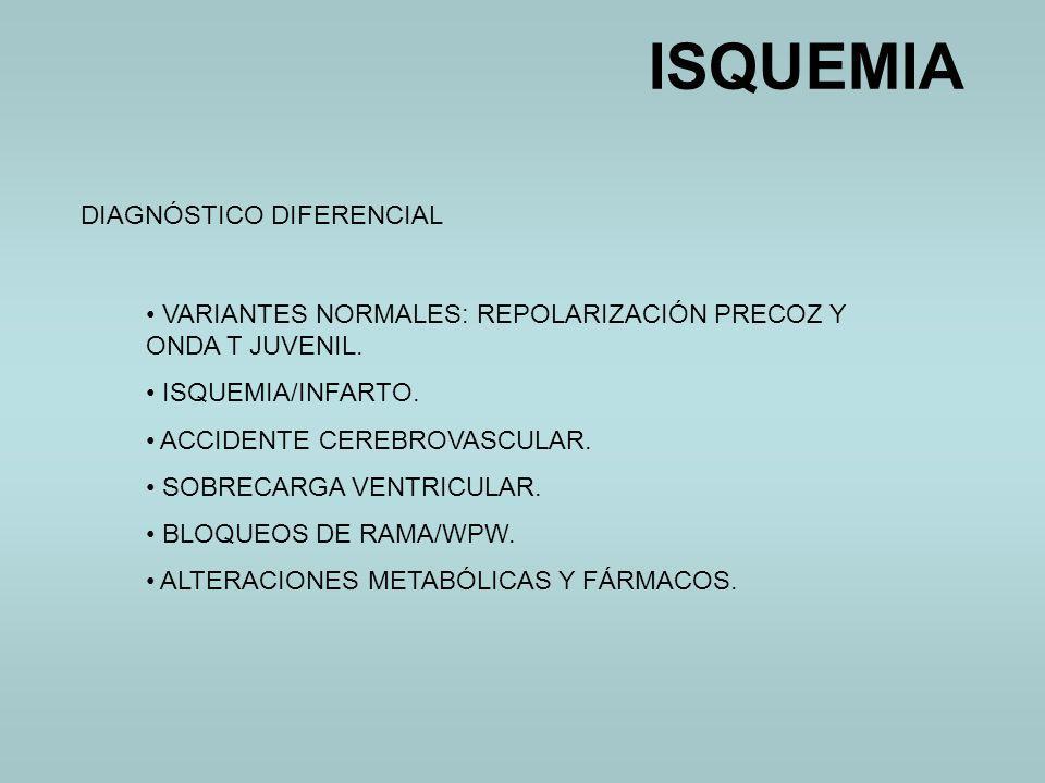 DIAGNÓSTICO DIFERENCIAL VARIANTES NORMALES: REPOLARIZACIÓN PRECOZ Y ONDA T JUVENIL. ISQUEMIA/INFARTO. ACCIDENTE CEREBROVASCULAR. SOBRECARGA VENTRICULA