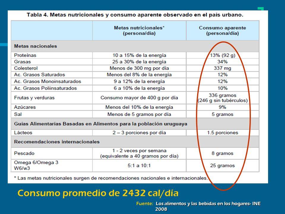Consumo promedio de 2432 cal/día Los alimentos y las bebidas en los hogares- INE 2008 Fuente: Los alimentos y las bebidas en los hogares- INE 2008