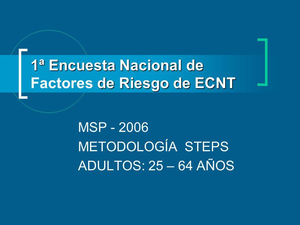 1ª Encuesta Nacional de de Riesgo de ECNT 1ª Encuesta Nacional de Factores de Riesgo de ECNT MSP - 2006 METODOLOGÍA STEPS ADULTOS: 25 – 64 AÑOS