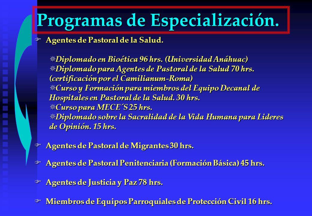 Agentes de Pastoral de la Salud. Agentes de Pastoral de la Salud. Diplomado en Bioética 96 hrs. (Universidad Anáhuac) Diplomado en Bioética 96 hrs. (U