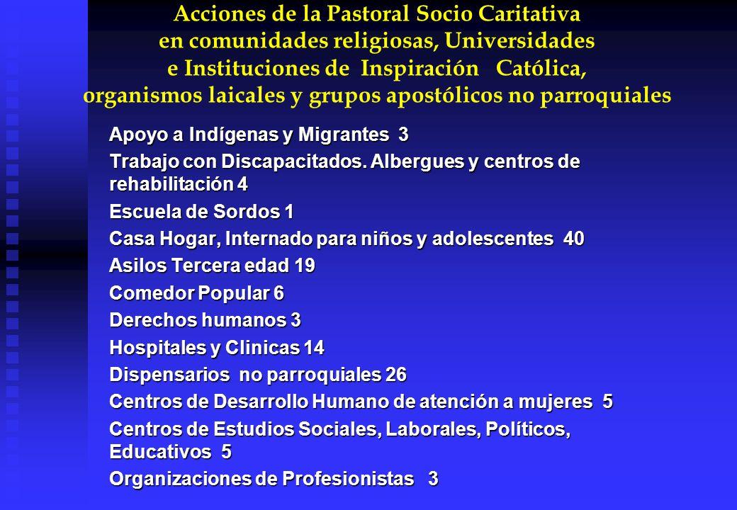 Acciones de la Pastoral Socio Caritativa en comunidades religiosas, Universidades e Instituciones de Inspiración Católica, organismos laicales y grupo