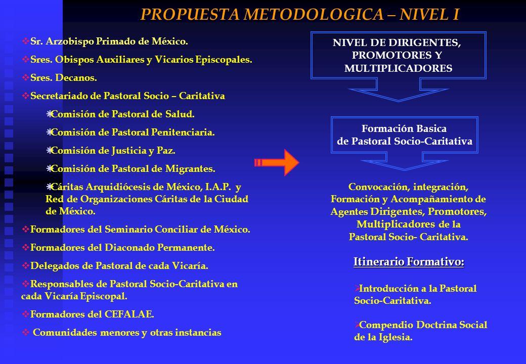 PROPUESTA METODOLOGICA – NIVEL I Sr. Arzobispo Primado de México. Sres. Obispos Auxiliares y Vicarios Episcopales. Sres. Decanos. Secretariado de Past