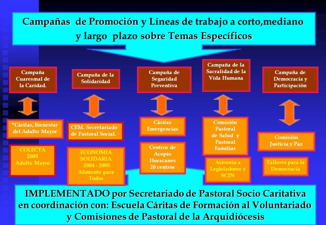 Campañas de Promoción Campañas de Promoción y Líneas de trabajo a corto,mediano sobre Temas Específicos y largo plazo sobre Temas Específicos IMPLEMEN