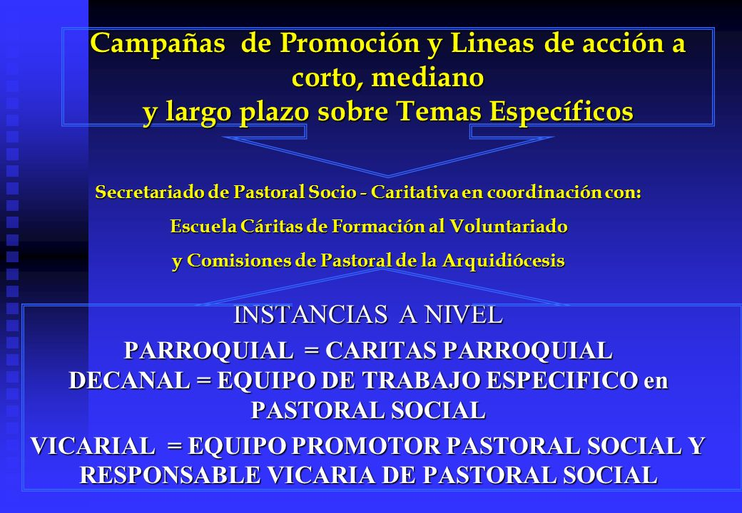 Secretariado de Pastoral Socio - Caritativa en coordinación con: Escuela Cáritas de Formación al Voluntariado y Comisiones de Pastoral de la Arquidiócesis INSTANCIAS A NIVEL PARROQUIAL = CARITAS PARROQUIAL DECANAL = EQUIPO DE TRABAJO ESPECIFICO en PASTORAL SOCIAL VICARIAL = EQUIPO PROMOTOR PASTORAL SOCIAL Y RESPONSABLE VICARIA DE PASTORAL SOCIAL Campañas de Promoción y Lineas de acción a corto, mediano y largo plazo sobre Temas Específicos