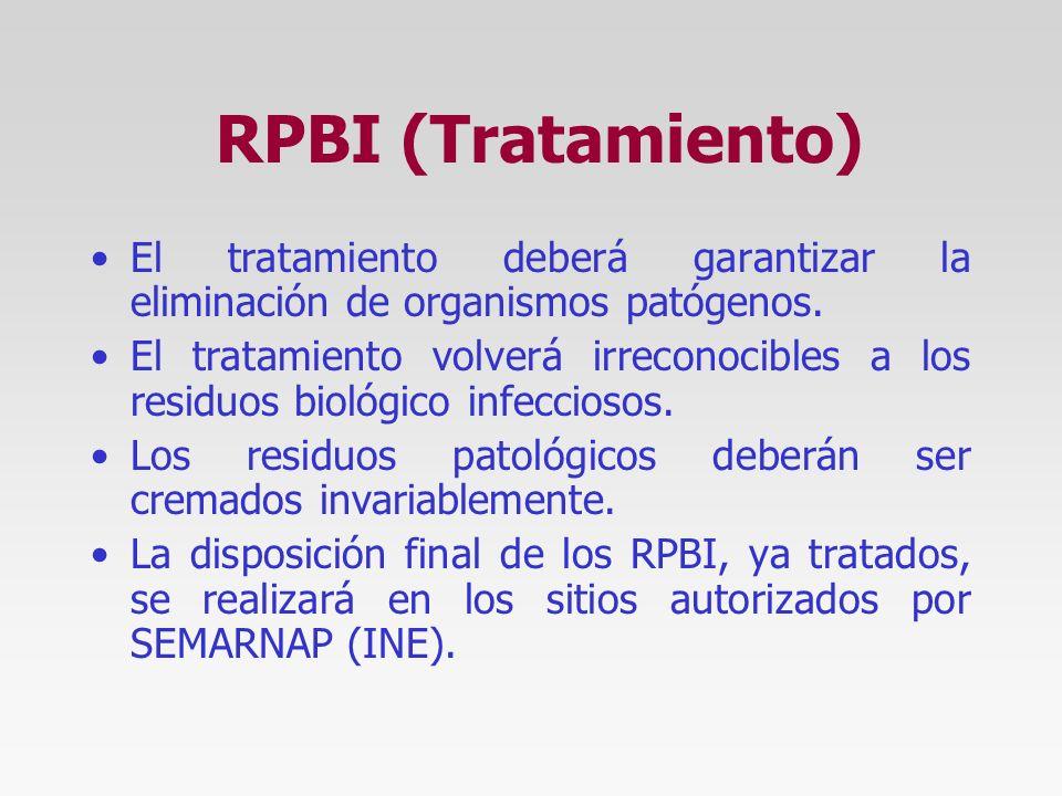 RPBI (Proveedor) Los procedimientos, técnicas o manipulaciones para la recolección, tratamiento y disposición final de los RPBI es competencia y respo