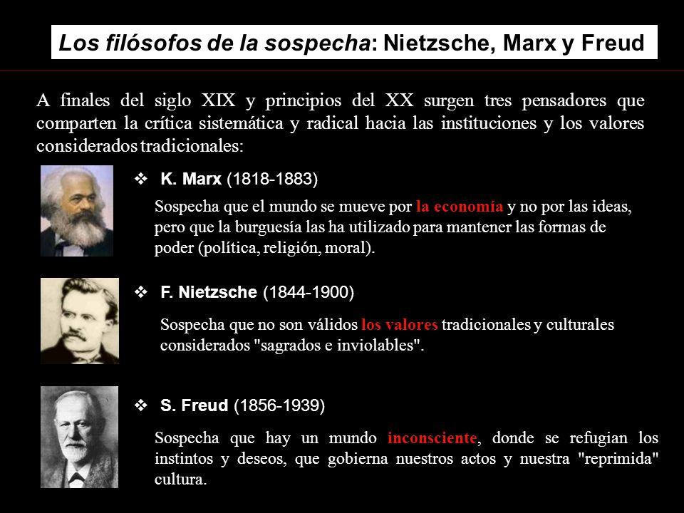 Los filósofos de la sospecha: Nietzsche, Marx y Freud. S. Freud (1856-1939) A finales del siglo XIX y principios del XX surgen tres pensadores que com