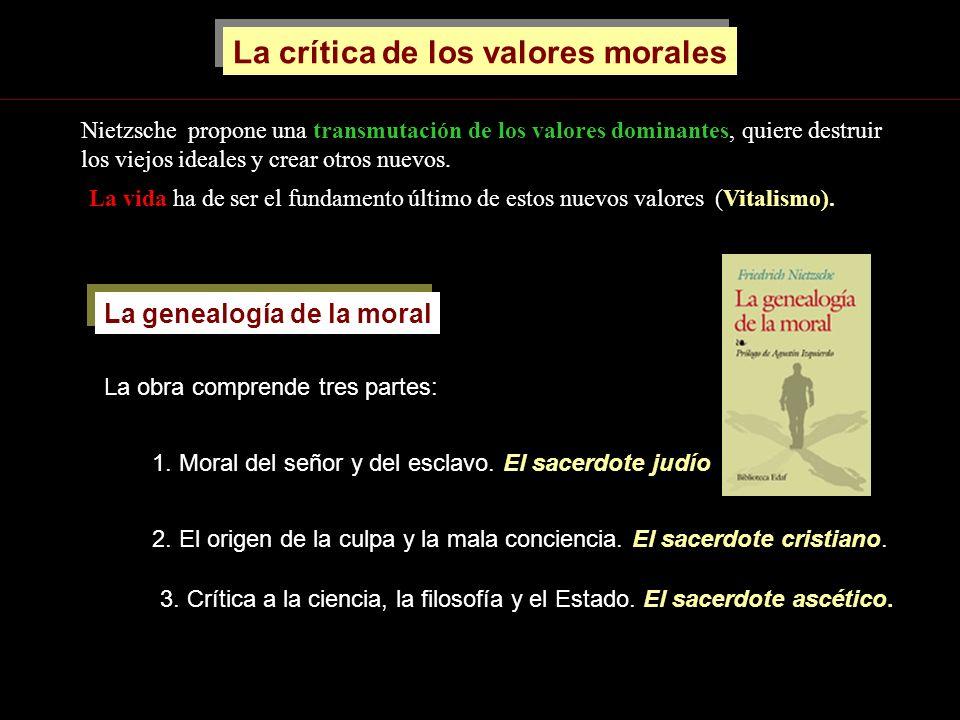 3. Crítica a la ciencia, la filosofía y el Estado. El sacerdote ascético. La crítica de los valores morales Nietzsche propone una transmutación de los