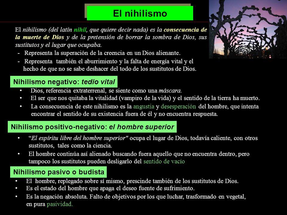 El nihilismo La consecuencia de este nihilismo es la angustia y desesperación del hombre, que intenta encontrar el sentido de su existencia fuera de é