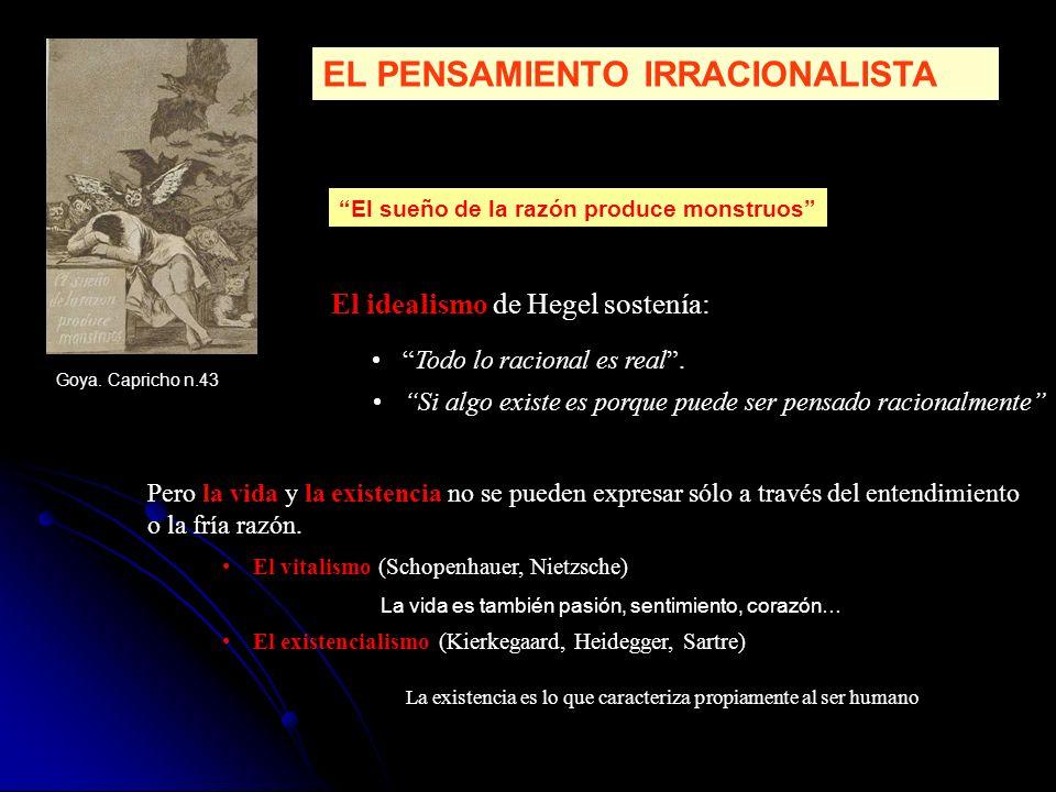 EL PENSAMIENTO IRRACIONALISTA El idealismo de Hegel sostenía: Todo lo racional es real. Si algo existe es porque puede ser pensado racionalmente El vi