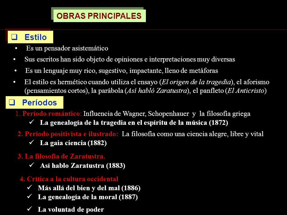 OBRAS PRINCIPALES Es un lenguaje muy rico, sugestivo, impactante, lleno de metáforas Sus escritos han sido objeto de opiniones e interpretaciones muy