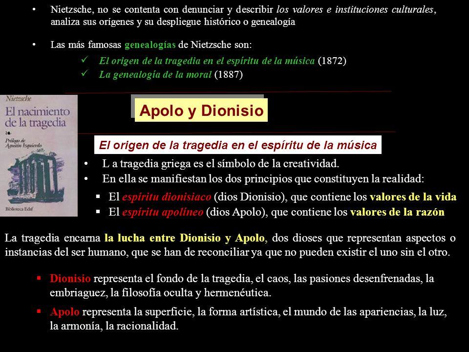 Nietzsche, no se contenta con denunciar y describir los valores e instituciones culturales, analiza sus orígenes y su despliegue histórico o genealogí