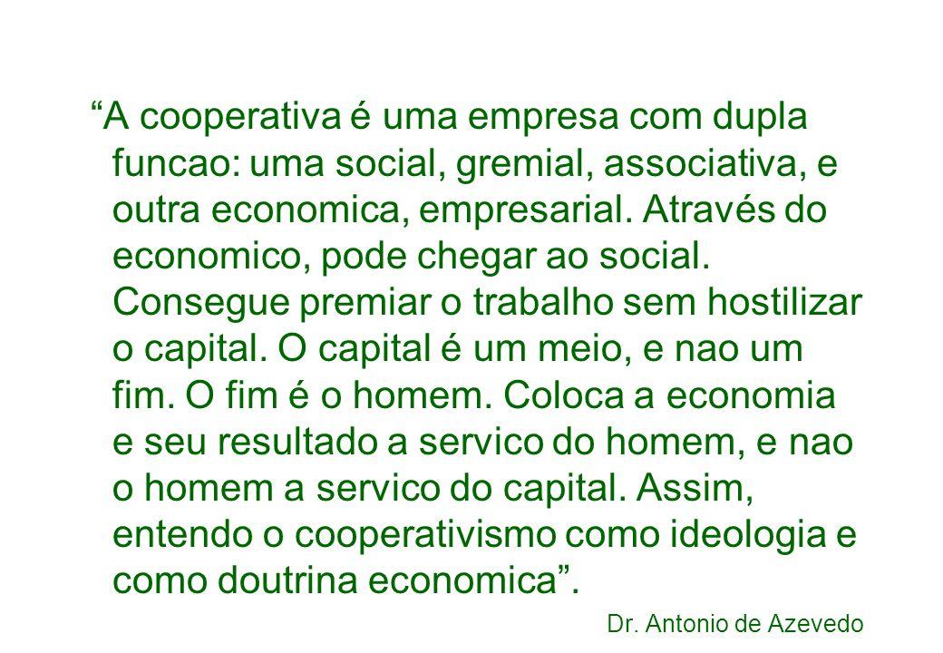 A cooperativa é uma empresa com dupla funcao: uma social, gremial, associativa, e outra economica, empresarial.