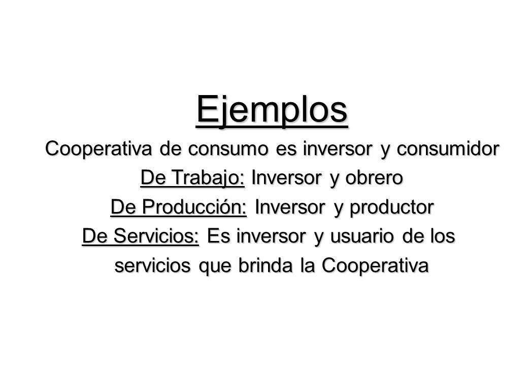Ejemplos Cooperativa de consumo es inversor y consumidor De Trabajo: Inversor y obrero De Producción: Inversor y productor De Servicios: Es inversor y usuario de los servicios que brinda la Cooperativa