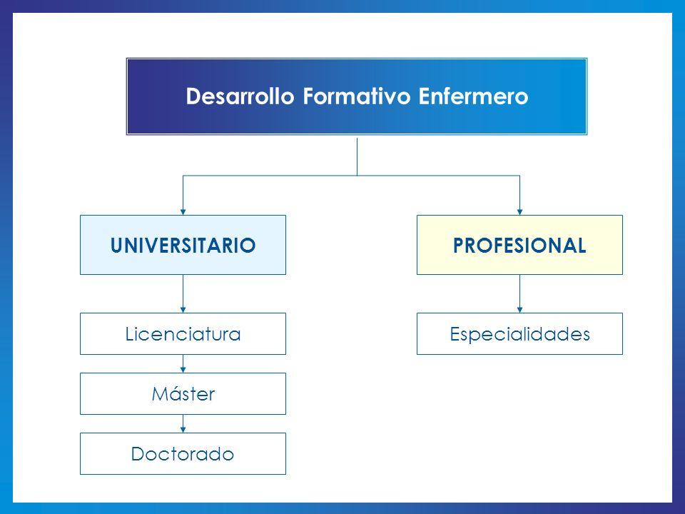 Desarrollo Formativo Enfermero UNIVERSITARIOPROFESIONAL LicenciaturaEspecialidades Máster Doctorado