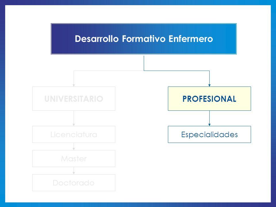 Desarrollo Formativo Enfermero UNIVERSITARIOPROFESIONAL LicenciaturaEspecialidades Master Doctorado