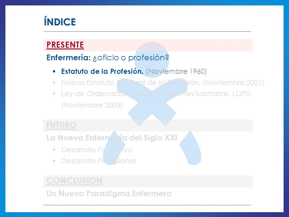 ÍNDICE PRESENTE Enfermería: ¿oficio o profesión? Estatuto de la Profesión. (Noviembre 1960) Nuevo Estatuto General de la Profesión. (Noviembre 2001) L