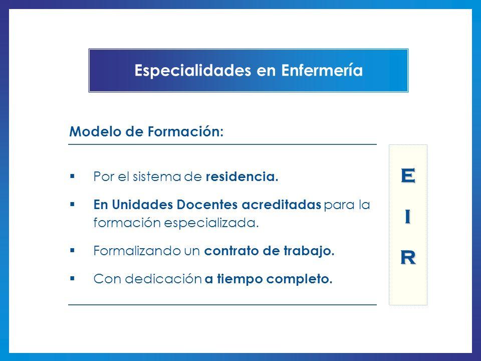 Modelo de Formación: Por el sistema de residencia. En Unidades Docentes acreditadas para la formación especializada. Formalizando un contrato de traba