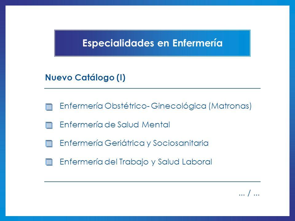 Enfermería Obstétrico- Ginecológica (Matronas) Enfermería de Salud Mental Enfermería Geriátrica y Sociosanitaria Enfermería del Trabajo y Salud Labora