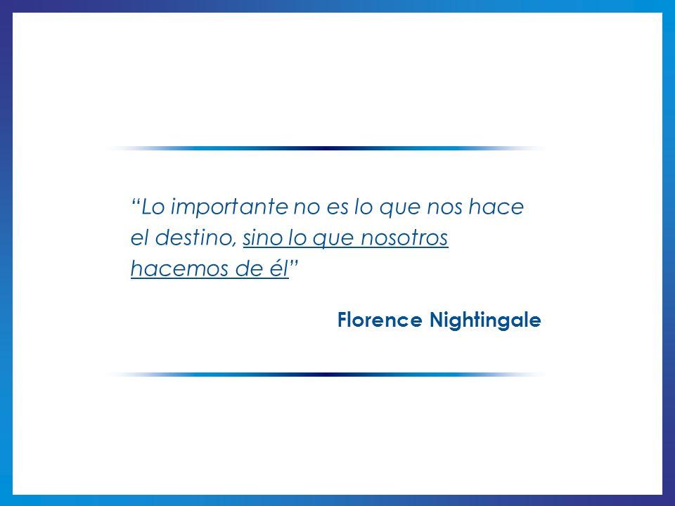 Lo importante no es lo que nos hace el destino, sino lo que nosotros hacemos de él Florence Nightingale