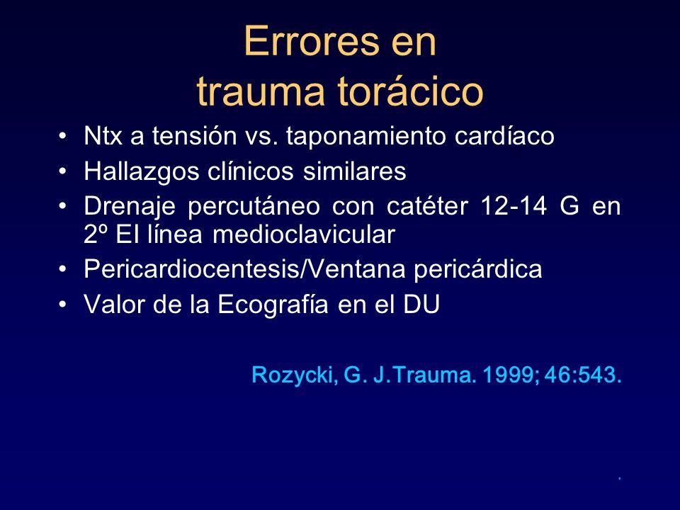 Errores en trauma torácico Ntx a tensión vs. taponamiento cardíaco Hallazgos clínicos similares Drenaje percutáneo con catéter 12-14 G en 2º EI línea