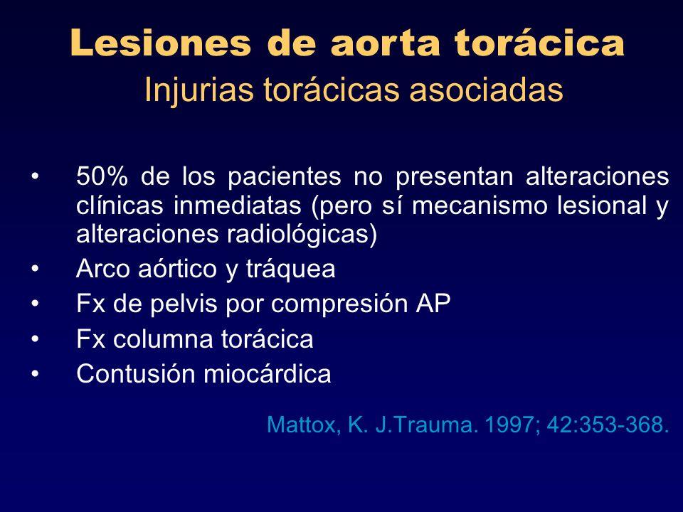 Lesiones de aorta torácica Injurias torácicas asociadas 50% de los pacientes no presentan alteraciones clínicas inmediatas (pero sí mecanismo lesional