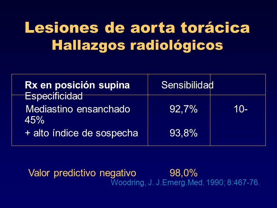 Lesiones de aorta torácica Hallazgos radiológicos Rx en posición supina Sensibilidad Especificidad Mediastino ensanchado 92,7% 10- 45% + alto índice d