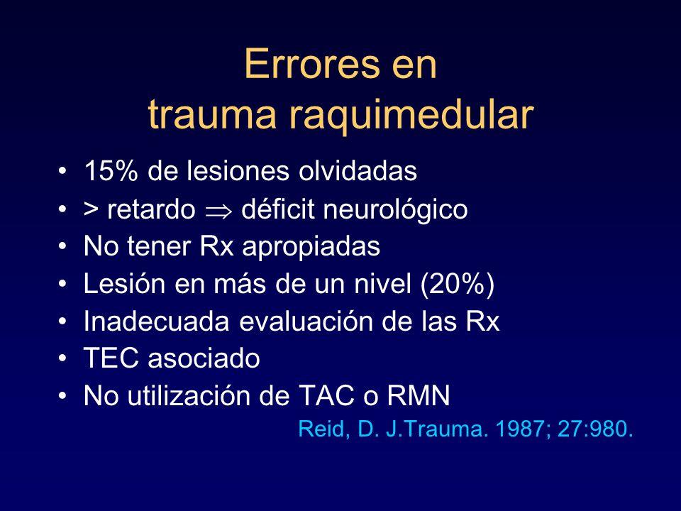 Errores en trauma raquimedular 15% de lesiones olvidadas > retardo déficit neurológico No tener Rx apropiadas Lesión en más de un nivel (20%) Inadecua