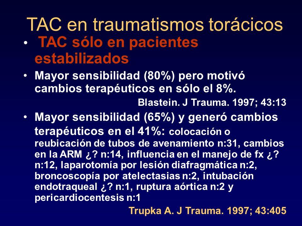 TAC en traumatismos torácicos TAC sólo en pacientes estabilizados Mayor sensibilidad (80%) pero motivó cambios terapéuticos en sólo el 8%. Blastein. J