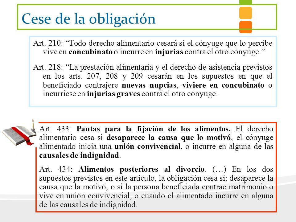 Cese de la obligación Art. 210: Todo derecho alimentario cesará si el cónyuge que lo percibe vive en concubinato o incurre en injurias contra el otro