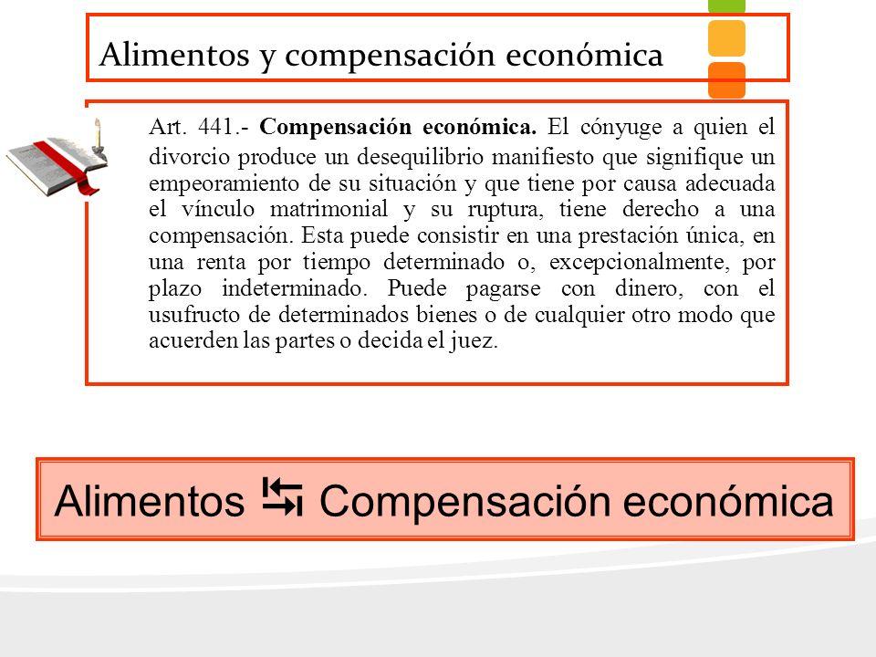 Alimentos y compensación económica Art. 441.- Compensación económica. El cónyuge a quien el divorcio produce un desequilibrio manifiesto que signifiqu