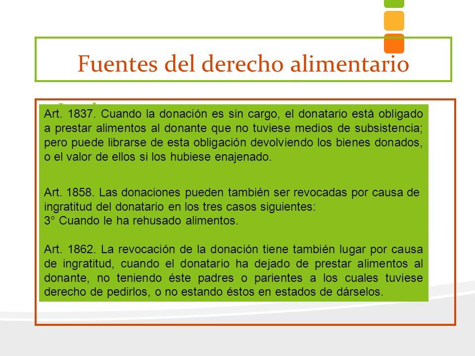 Fuentes del derecho alimentario Legal ú derivados de las relaciones familiares ú derivados de la donación (art. 1837) Contractual o convencional (ej.