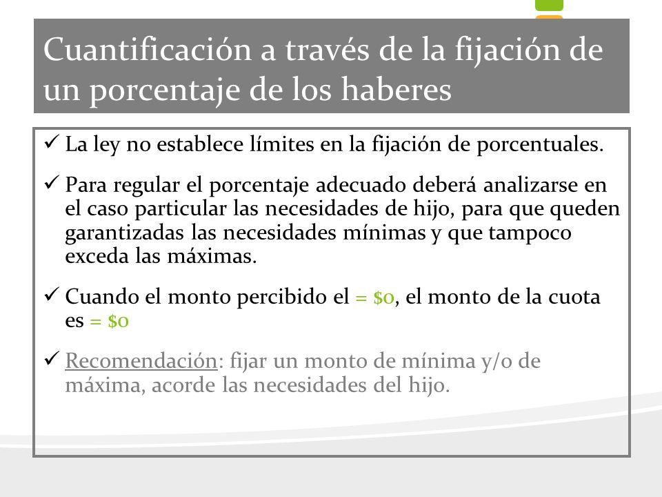 Cuantificación a través de la fijación de un porcentaje de los haberes La ley no establece límites en la fijación de porcentuales. Para regular el por