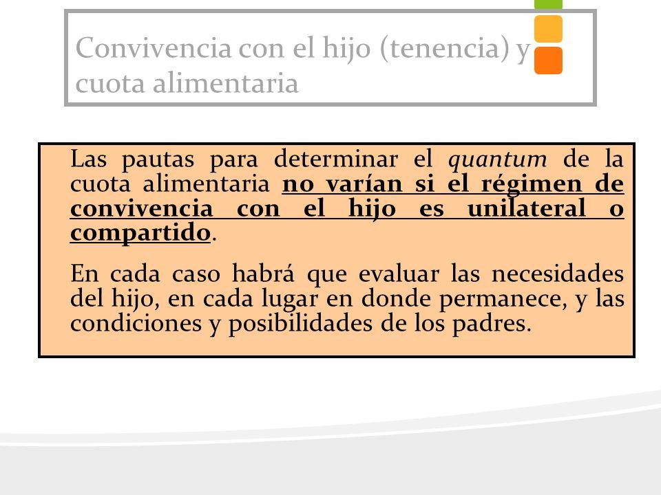 Convivencia con el hijo (tenencia) y cuota alimentaria Las pautas para determinar el quantum de la cuota alimentaria no varían si el régimen de conviv