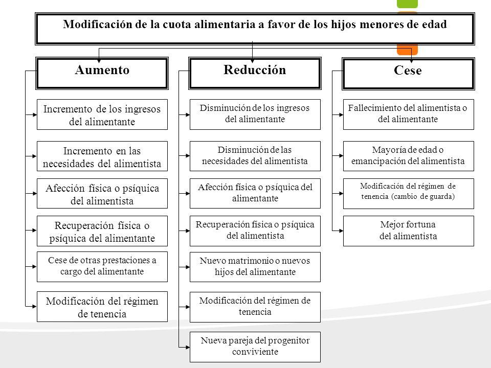 Incremento de los ingresos del alimentante Incremento en las necesidades del alimentista Disminución de los ingresos del alimentante Disminución de la