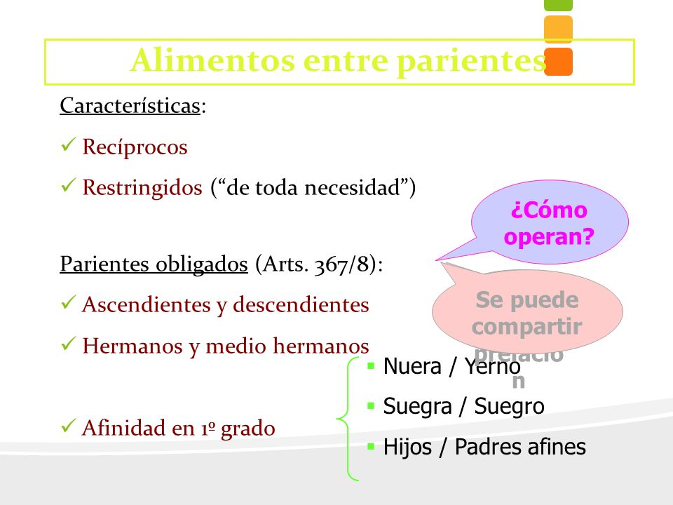 Características: Recíprocos Restringidos (de toda necesidad) Parientes obligados (Arts. 367/8): Ascendientes y descendientes Hermanos y medio hermanos