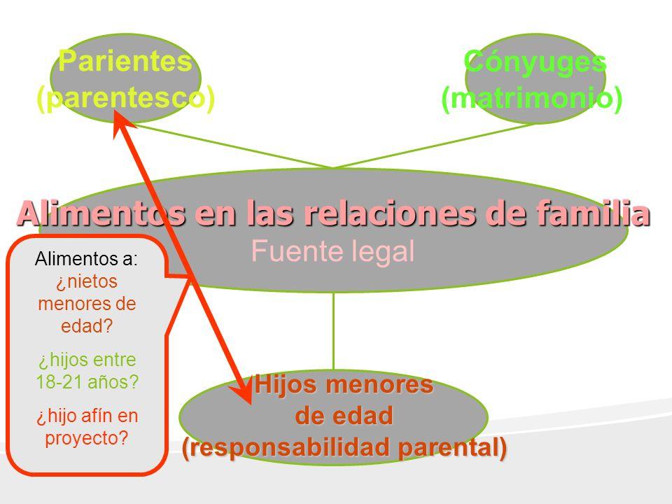 Alimentos en las relaciones de familia Fuente legal Parientes (parentesco) Cónyuges (matrimonio) Hijos menores de edad (responsabilidad parental) Alimentos a: ¿nietos menores de edad.