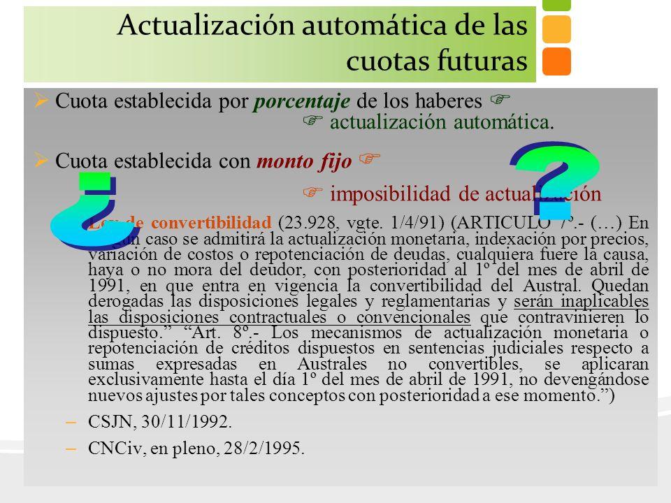 Actualización automática de las cuotas futuras Cuota establecida por porcentaje de los haberes actualización automática. Cuota establecida con monto f