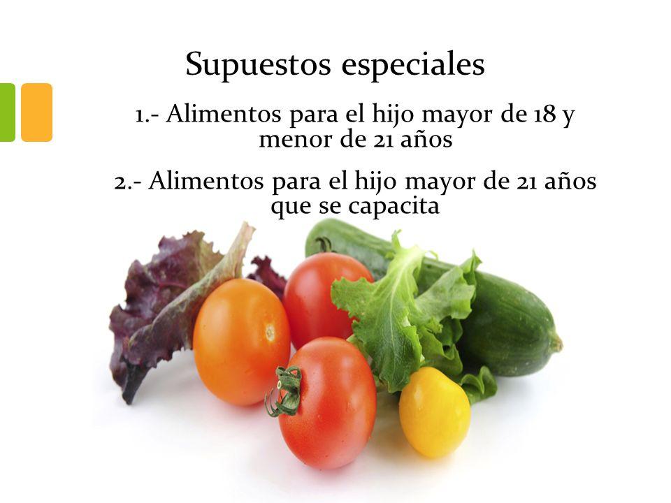Supuestos especiales 1.- Alimentos para el hijo mayor de 18 y menor de 21 años 2.- Alimentos para el hijo mayor de 21 años que se capacita
