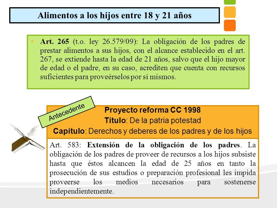 Art. 265 (t.o. ley 26.579/09): La obligación de los padres de prestar alimentos a sus hijos, con el alcance establecido en el art. 267, se extiende ha