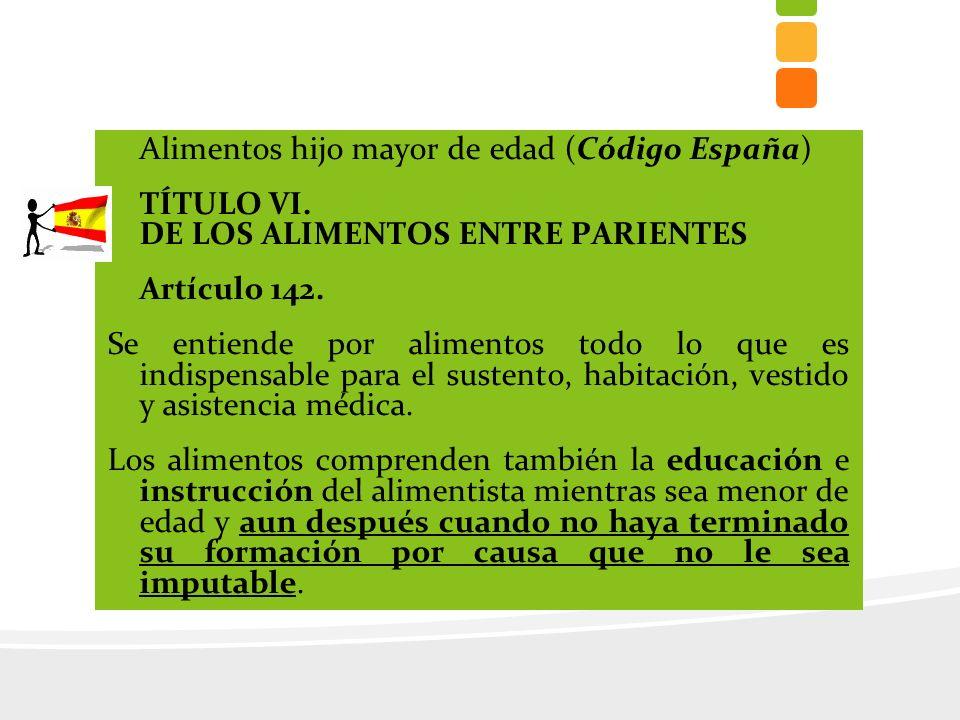 Alimentos hijo mayor de edad (Código España) TÍTULO VI.