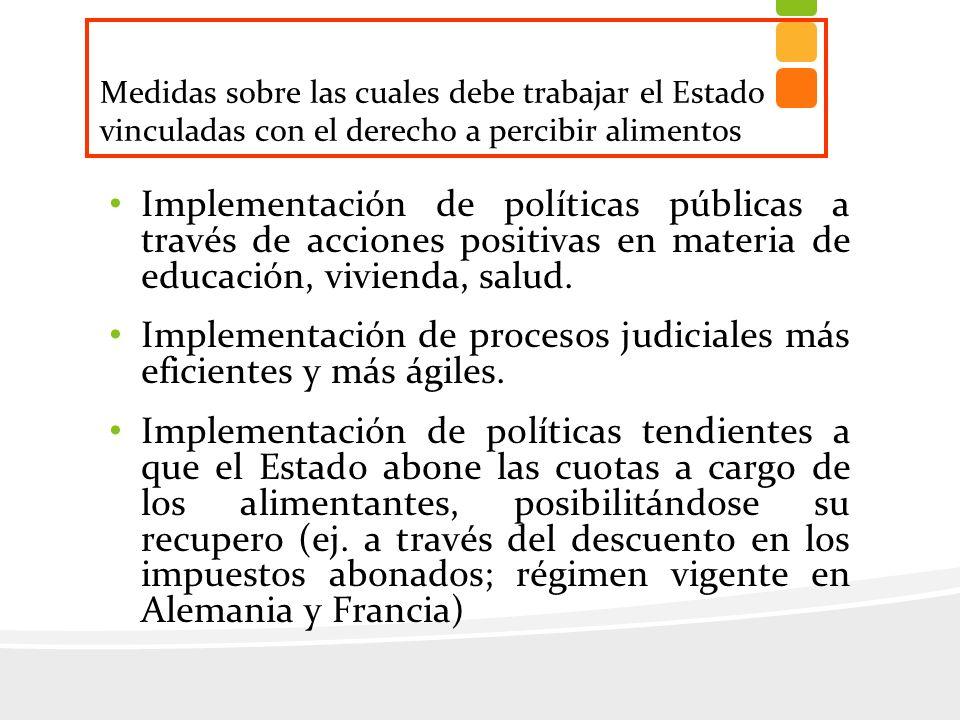 Implementación de políticas públicas a través de acciones positivas en materia de educación, vivienda, salud. Implementación de procesos judiciales má